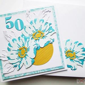Kartka Urodzinowa - turkusowo-błękitne kwiaty