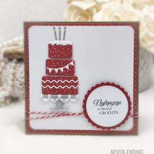 Kartka urodzinowa z czerwonym tortem