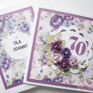 Kartka URODZINOWA z fioletowymi różami