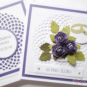 Kartka W DNIU ŚLUBU - fioletowe róże