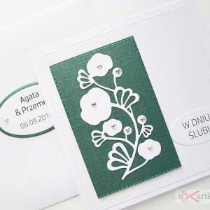 Kartka W DNIU ŚLUBU biało-zielona #1