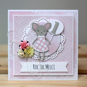 Kartka w pudełku na roczek - z myszką