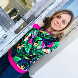 Klasyczna Damska Bluza Tropikalne Lilie