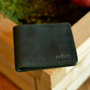 Klasyczny skórzany ciemnozielony portfel Handmade