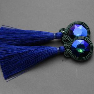 kobaltowe kolczyki lub klipsy sutasz z chwostami 1