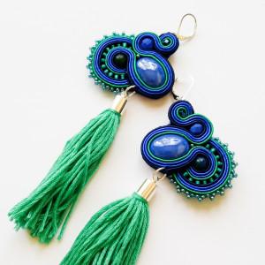 Kobaltowo-turkusowe kolczyki z frędzlami