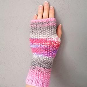 Kobiece rękawiczki bez palców, typu mitenki, boho.