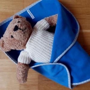 Kocyk dla lalek, misia polarowy niebieski