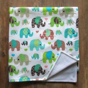 Kocyk i poszewka na poduszkę w słonie
