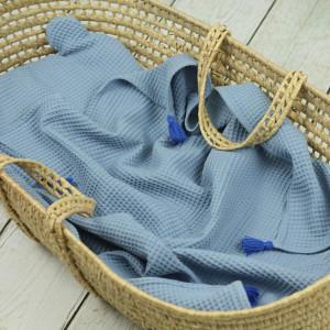 kocyk wafelkowy niebieski z poduszką