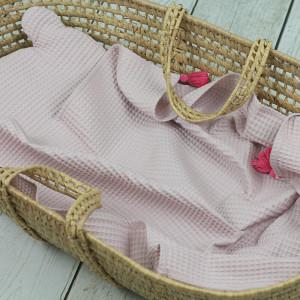 kocyk wafelkowy różowy z poduszką