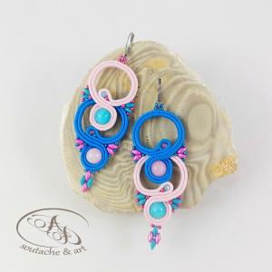 Kolczyki Betti różowe niebieskie sutasz z jadeitem