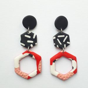 Kolczyki czarno-czerwone model nr 3