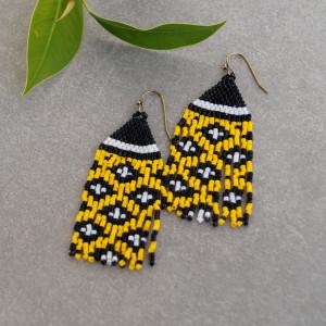 Kolczyki czarno-żółte a koralików Miyuki