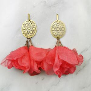 Kolczyki do sukienki w kwiaty c585 malinowe
