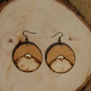 kolczyki drewniane - góry