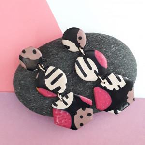 Kolczyki fimo czarno beżowe model 1