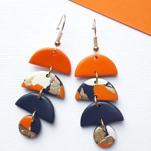 Kolczyki fimo pomarańczowo złote model nr 2