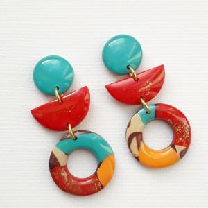 Kolczyki fimo turkusowo-czerwone