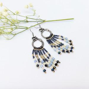 Kolczyki indiańce beadingowe blue