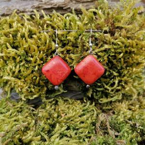 Kolczyki kamyki (czerwone) #2