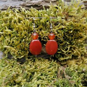Kolczyki kamyki (czerwono-pomarańczowe) #2