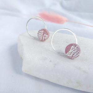 Kolczyki kółka różowe sreberka