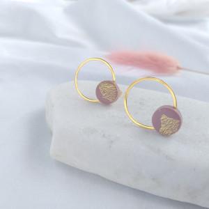 Kolczyki kółka różowe złotka