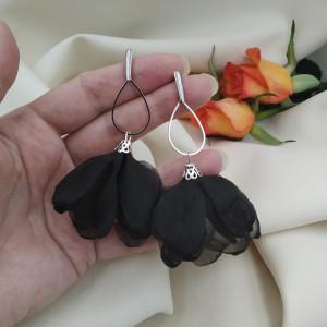 Kolczyki kwiatowe czarne, kolczyki duże kwiaty