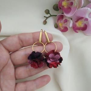 Kolczyki kwiaty bordo róż mauve wesele przyjęcie