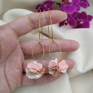 Kolczyki kwiaty ecru kremowe beż wesele przyjęcie