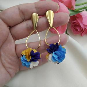 Kolczyki kwiaty kobaltowe chabrowe żółte floral