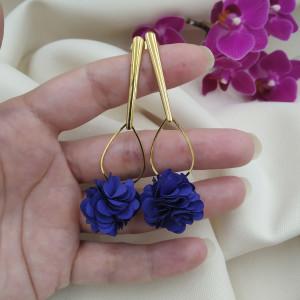 Kolczyki kwiaty kobaltowe wesele ślub szafir