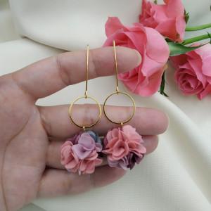 Kolczyki kwiaty kolorowe wesele ślub róż