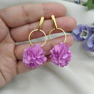 Kolczyki kwiaty lawendowe fioletowe na wesele