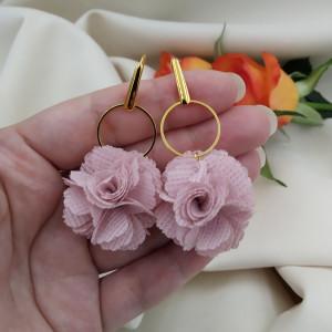 Kolczyki kwiaty mauve na wiosnę wesele