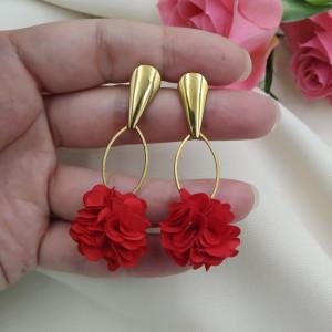 Kolczyki kwiaty na przyjęcie czerwone
