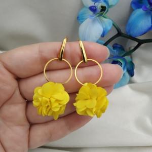 Kolczyki kwiaty na przyjęcie żółte kwiatuszki