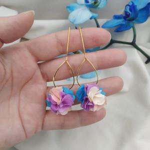 Kolczyki kwiaty pastelowe lawenda wesele przyjęcie