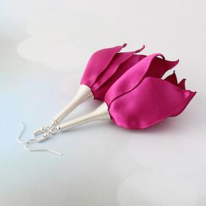 Kolczyki Kwiaty Silk Fuksja