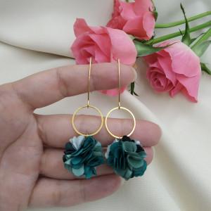 Kolczyki kwiaty szmaragdowe miętowe zielone