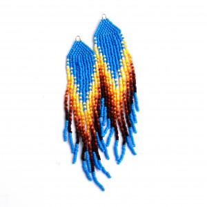Kolczyki niebiesko żółte z koralików Toho