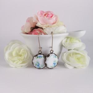 Kolczyki porcelanowe, niebieskie kwiatki