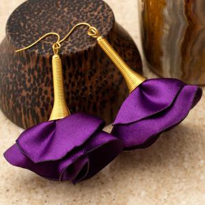 Kolczyki Silk Fioletowe Złote
