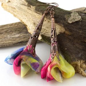 Kolczyki Silk Wielokolorowe Kwiaty