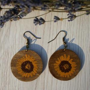 kolczyki słoneczniki malowane