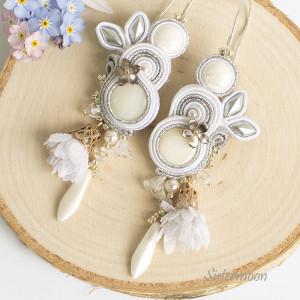 Kolczyki ślubne sutasz Snow Flowers