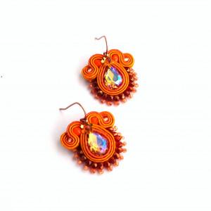 Kolczyki soutache - pomarańczowe