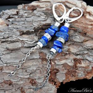 Kolczyki srebrne długie z lapis lazuli