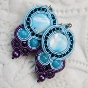 Kolczyki sutasz blue&violet sztyfty